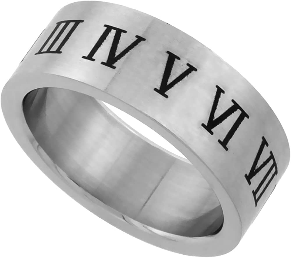 Sizes 7-14 Surgical Stainless Steel 6mm Roman Numerals Ring Wedding Band Matte Finish