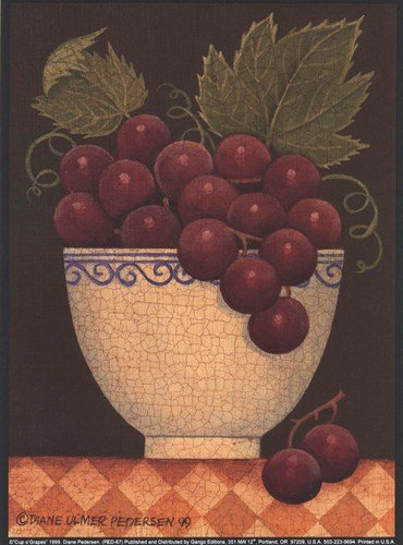 Cup O' Grapes by Diane Ulmer Pedersen - 5.25x7.25 Inches - Art Print Poster