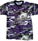 Adult Camo Sports (Colors) Purple, Black & White Camouflage T-Shirt