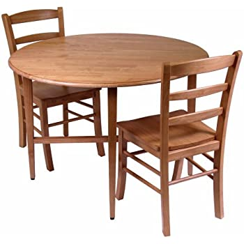 Amazon Com Winsome 3 Piece Alamo Round Drop Leaf Table