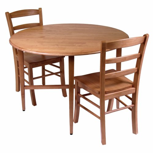 - Winsome Hannah Dining Set, Drop Leaf Table with 2 Ladder Back Chairs, 3-Piece