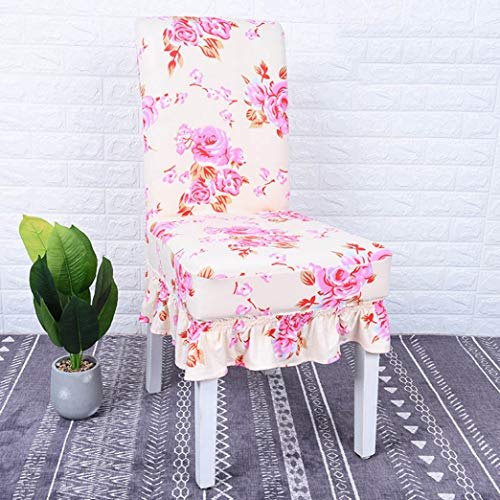 - BERTERI Printing Chair Cover with Skirt Stretch Slipcovers Elastic Dining Chair Protector for Restaurant Banquet Hotel Home Decoration