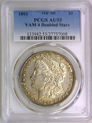 1893 P Morgan VAM 4, Doubled Stars, Top 100 Dollar AU-53 PCGS