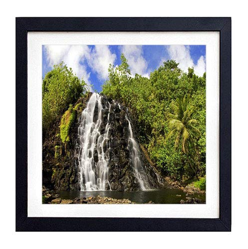 GLITZFAS PRINTS Framed Wall Art- Falls Stones Trees Palm Tree Cascades Equator- Art Print Black Wood Framed Wall Art Picture for Home Decoration - 16