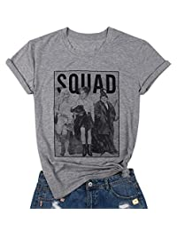 NANYUAYA Halloween Squad Goals T-Shirt Women Funny Sanderson Sisters Graphic Short Sleeve Tee Top