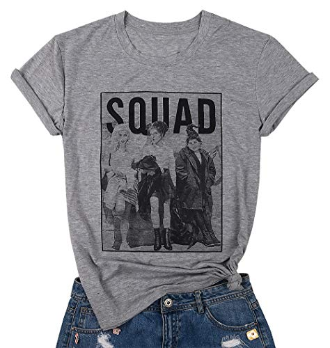 BANGELY Sanderson Sisters Squad Cute T Shirt Halloween Graphic Tees for Women Hocus Pocus Funny Shirts Fall Casual Tops Size Medium (Grey)