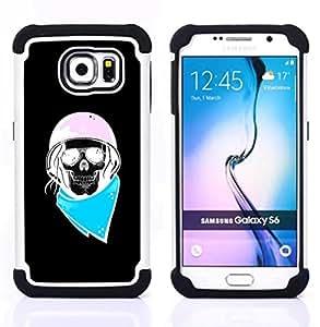 BullDog Case - FOR/Samsung Galaxy S6 G9200 / - / BIKER BLUE PINK BLACK BIKER HELMET /- H??brido Heavy Duty caja del tel??fono protector din??mico - silicona suave