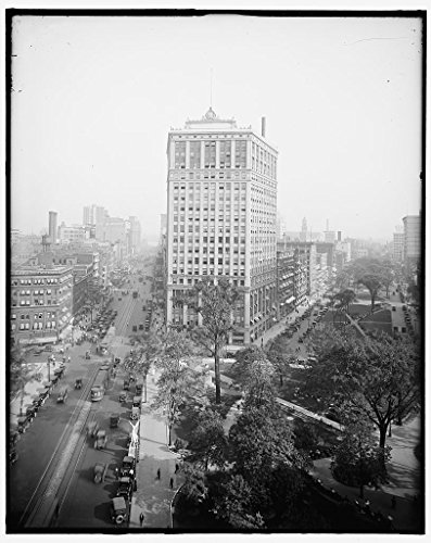Vintography 8 x 10 Ready to Frame Pro Photo of View of Woodward Avenue and Washington Boulevard Detroit Mich 1910 Detriot Publishing 67a