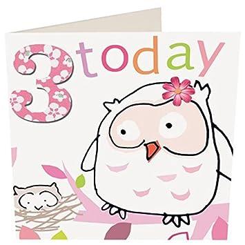Caroline gardner zhb081 owl 3 year old girl greeting card amazon caroline gardner zhb081 quotowl 3 year old girlquot greeting card m4hsunfo