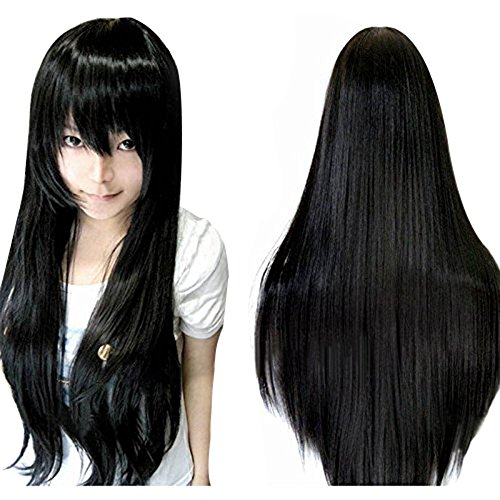 Anogol Vocaloid 80cm Your Lie in April Straight Wigs Lolita Black Cosplay Wig by -