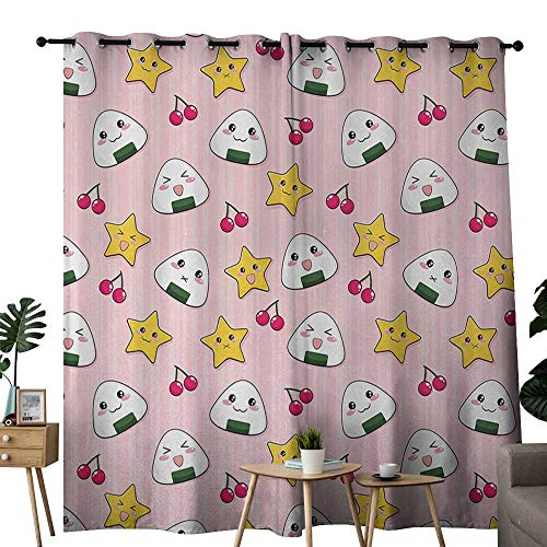 (Littletonhome Anime Simple Curtain Happy Crying Cute Cartoon Rice Balls Cherries Stars Pattern on Stripes Art Noise Reducing W72 x L108 Pink Yellow and White)