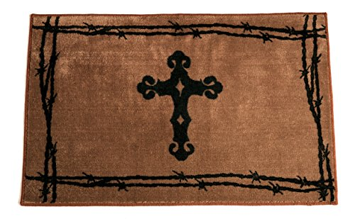 - HiEnd Accents Western Cross Kitchen and Bath Rug, 24 x 36, Chocolate