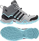 adidas Terrex Swift R Mid GTX Boot Women's Hiking 6.5 Grey-Utility Black-Clear Aqua
