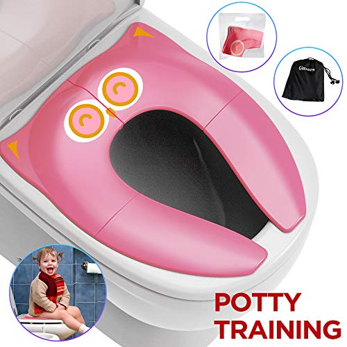 Portable Seat Folding Potty (Gimars Upgrade Folding Large Non Slip Silicone Pads Travel Portable Reusable Toilet Potty Training Seat Covers Liners with Carry Bag for Babies, Toddlers and Kids,Pink)