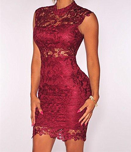 Vestidos De Mujer Ropa De Moda Para Fiesta y Noche Elegante Casuales Encaje Rojos (L) VE009 at Amazon Womens Clothing store: