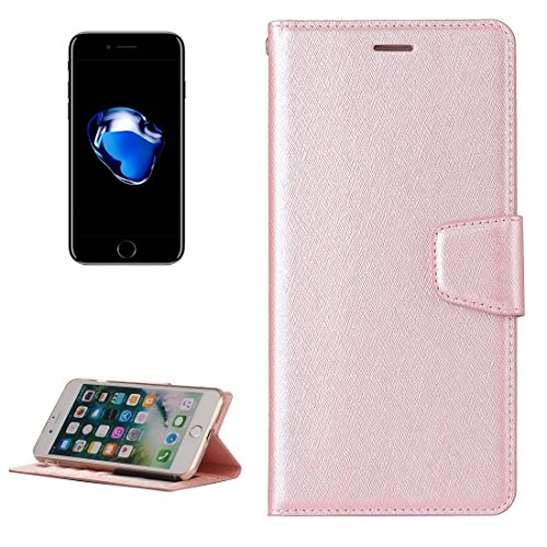 Wkae Textura de seda Horizontal Flip caja de cuero con la cartera y el titular y la ranura para tarjetas y marco de fotos para el iPhone 7 Plus ( Color : Magenta ) Rose gold
