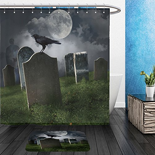 Vanfan Bathroom 2?Suits 1 Shower Curtains & ?1 Floor Mats cemetery with old gravestones moon and black raven 63050794 From Bath room