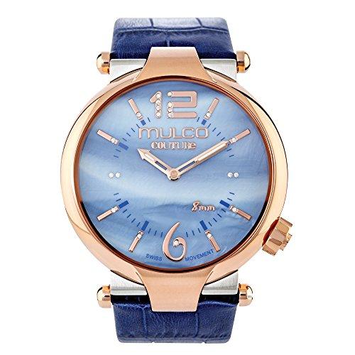 Slim Swiss Watch - MULCO Women's MW5-3183-043 Couture Slim Analog Display Swiss Quartz Blue Watch