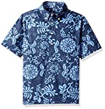 Reyn Spooner Boys' Big Pullover Hawaiian Shirt, Royal Chrysanthemums - Navy, M