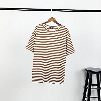 Xmy bar rayé classique col rond coton mince vidéo lâche manches courtes T-shirts Femmes Chemises et T-shirts sont pour l'été.