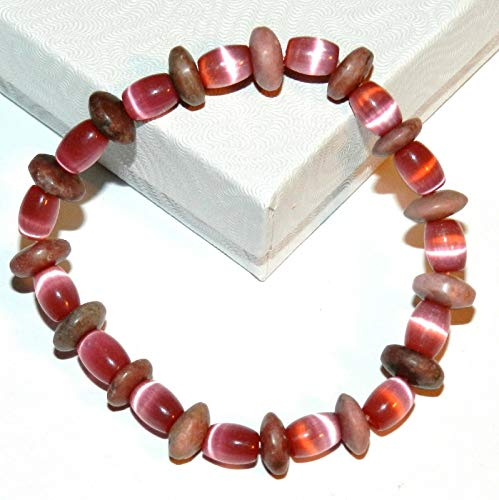 Pink Rhodonite Pink Cats Eye Glass Gemstone 7 Stretch Bead Bracelet #ID-6768