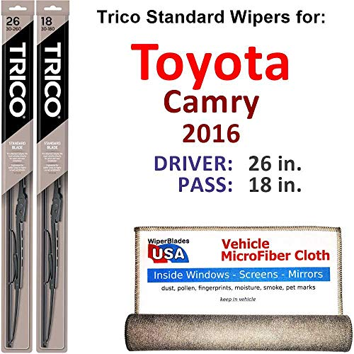 Wiper Blades for 2016 Toyota Camry Driver & Passenger Trico Steel Wipers Set of 2 Bundled with Bonus MicroFiber Interior Car Cloth