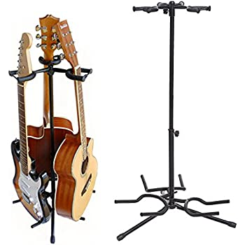 Coocheer Triple Guitar Stand- Tripod Adjustable Multiple Guitar Stand for Acoustic Guitar, Electric Guitar Black