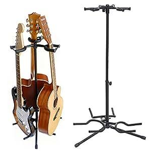coocheer triple guitar stand tripod adjustable multiple guitar stand for acoustic. Black Bedroom Furniture Sets. Home Design Ideas