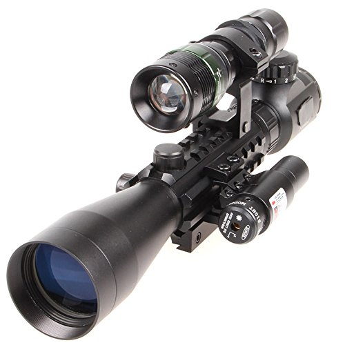 Cheap Higoo 3-9X40EG Rifle Scope Red/Green Illuminated Rangefinder Reticle Riflescope, Zoom 3-9x With Tri-picatinny Rail, Red Laser Sight,Powerful Flashlight