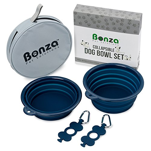 Bonza Large Collapsible Dog Bowls Twin Pack, Portable Dog Water Bowls for Medium to Large Dogs, Lightweight, Sturdy, Leak Proof, Food Safe, Premium Quality Travel Pet Bowl Solution (Large, Navy Blue)
