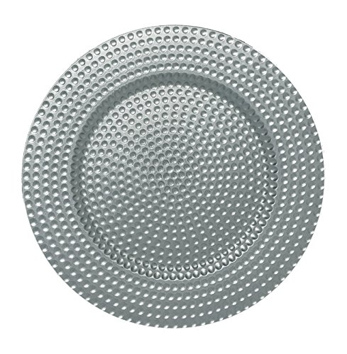 AK-Trading - Set of 12, Premium Finest Quality Party Plate Chargers, 13-Inch Round, Silver Hammered Design by AK TRADING