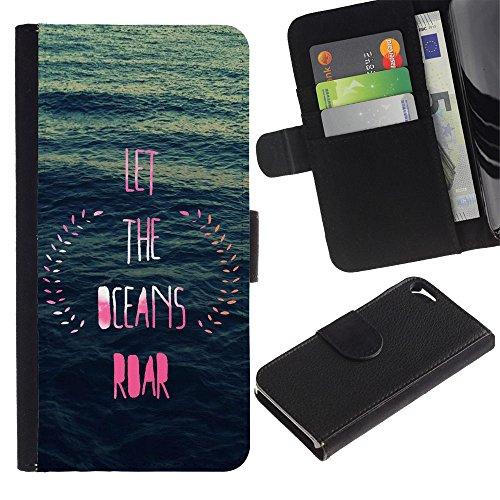 LASTONE PHONE CASE / Luxe Cuir Portefeuille Housse Fente pour Carte Coque Flip Étui de Protection pour Apple Iphone 5 / 5S / ocean inspirational pink blue wreath