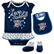 Outerstuff NBA Newborn & Infant Little Sweet Onesie, Bib and Bootie Oklahoma City Thunder-Dark Navy-12 Months