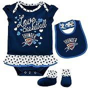 OuterStuff NBA Newborn & Infant Little Sweet  Onesie, Bib and Bootie Oklahoma City Thunder-Dark Navy-12 Months