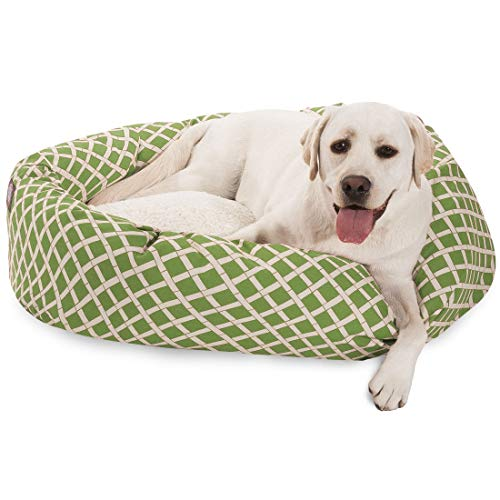 40 inch Sage Bamboo Sherpa Bagel Dog Bed