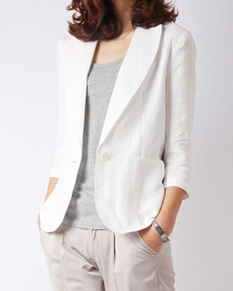 Femme Coton et Lin M/élang/é Blazer Veste de Tailleur Casual Slim Fit Manche 3//4 Costume Manteau