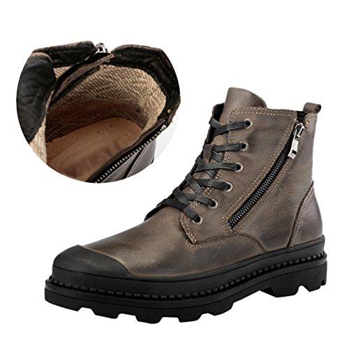 Jitong Herren Schnürstiefel mit Reissverschluss Casual Stiefelette Outdoor Boots Klassische Stiefel Grau