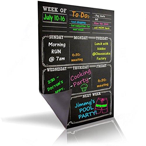 Flexible Sheeting Magnetic - Bigtime Dry Erase Magnetic Weekly Calendar Planner , Black Flexible Chalkboard Style Magnet Board for Refrigerator