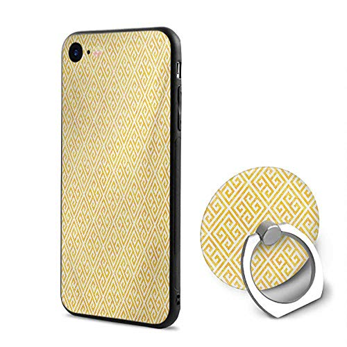 Greek Key iPhone 6/iPhone 6s Cases,Yellow and White Tile Pattern with Twisted Lines in Squares Grunge Looking Maze Yellow White,Design Mobile Phone Shell Ring Bracket
