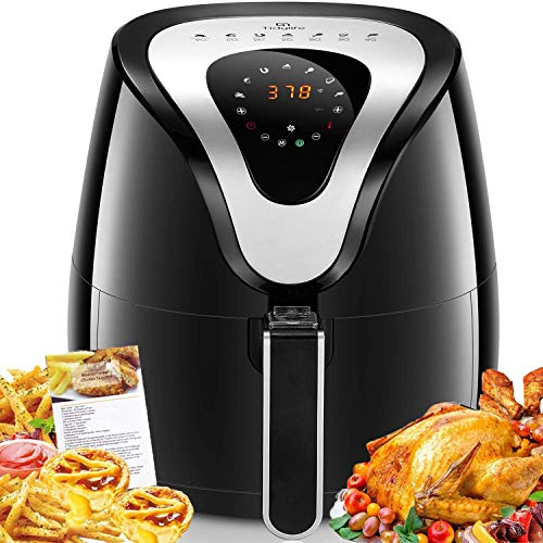 Air Fryer, Tidylife 8-in-1 Programmable Air Fryer with LCD Digital Touchscreen, 1500W Oilless Electric Hot Air Fryer, Auto Shut Off, Easy-to-Clean Nonstick Basket, 4.2 Qt, 50+ Recipes, BPA Free (Best Food At Mcdonalds For Diet)