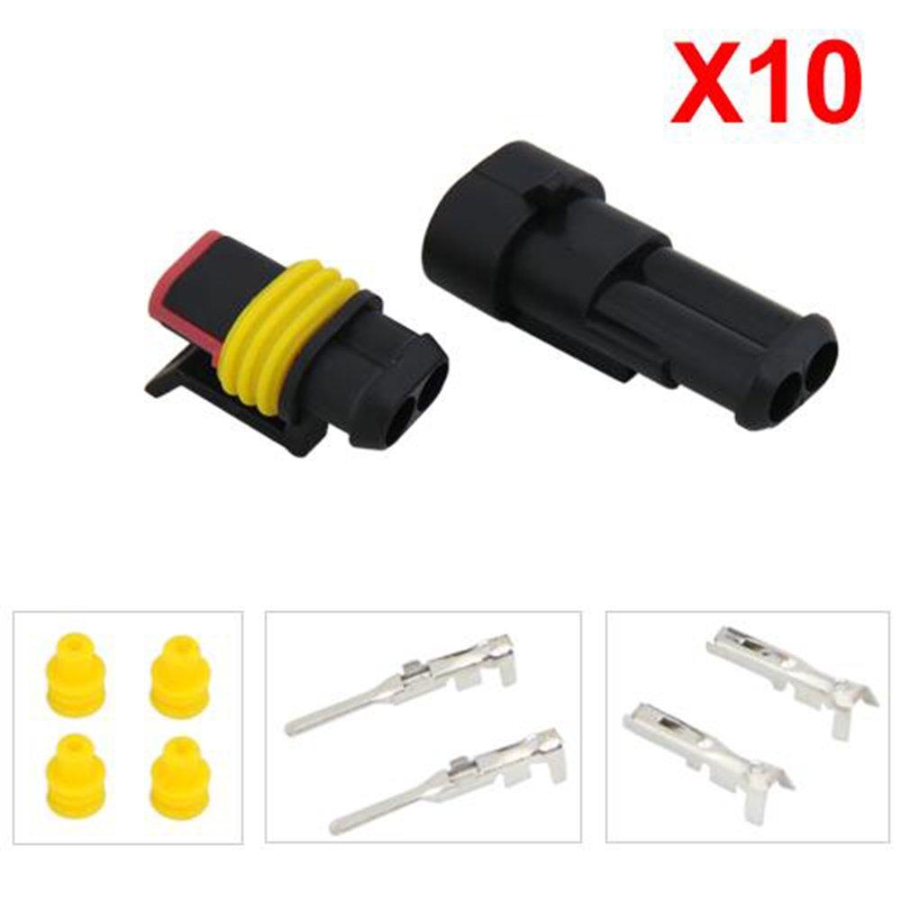 Tenlacum 10 Kit 2 Pin Weg wasserdichte Kabel Stecker für Auto KFZ ...