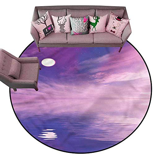 Large Floor Mats for Living Room Colorful Space,Stars and Full Moon Spectacle Diameter 78