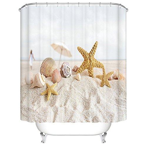 Tropical Island Decor (CHARMHOME Tropical Island Sandy Beach Home Decor,Seashell Starfish Mildew Resistant Fabric Waterproof Shower Room Decor Shower Curtains 60