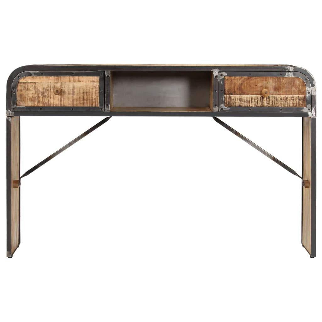 mewmewcat Buffet Industriel Armoire de Rangement Table Console 120 x 30 x 75 cm avec 1 Compartiment et 2 Tiroirs en Bois de Manguier Massif l x P x H