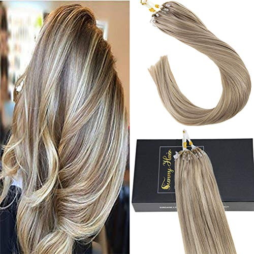 Sunny Blonde Highlight Micro Ring Human Hair Extensions 18 Inches 1g/Strand 100% Real Hair Micro Loop Extensions 50gram