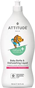 ATTITUDE, Baby Dish Soap, Non-toxic, ECOLOGO Certified, Fragrance-Free, 23.7 Fluid Ounce