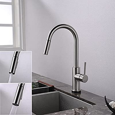 Touch Kitchen Faucets with Pull Down Sprayer, Kitchen Sink Faucet with Pull Out Sprayer, Single Hole Deck Mount, Single Handle Copper Kitchen Faucet, Brushed Nickel, FORIOUS