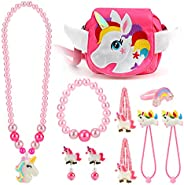 HIFOT Kids Jewelry Little Girls Handbag Necklace Bracelet Earrings Ring Hair Clips Set, Unicorn Jewelry Party