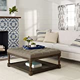 Cushion Ottoman Coffee Table Tufted Ottoman Coffee Table Centerpiece Suitable For Living Rooms. Large Storage Bench Provides Comfort And Functionality. Beige Linen Fabric And Sturdy Wooden Frame In Oak Enhance Your Home Decor.