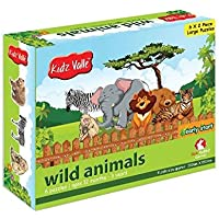 Kidz Valle Wild Animals Puzzles 6 x 2 Pieces 12 Months - 3 Years (Puzzles for Kids, Floor Puzzles)